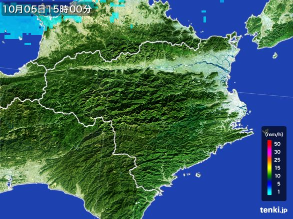 徳島県の雨雲レーダー(2015年10月05日)