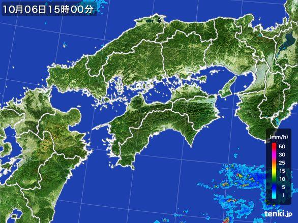 四国地方の雨雲レーダー(2015年10月06日)