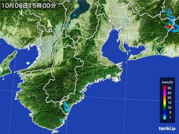 三重県の雨雲レーダー(2015年10月06日)
