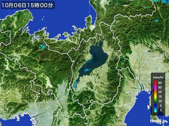 滋賀県の雨雲レーダー(2015年10月06日)