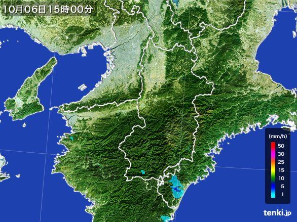 奈良県の雨雲レーダー(2015年10月06日)