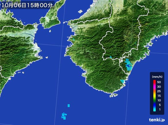 和歌山県の雨雲レーダー(2015年10月06日)