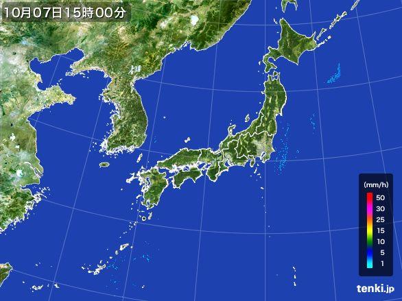 雨雲レーダー(2015年10月07日)