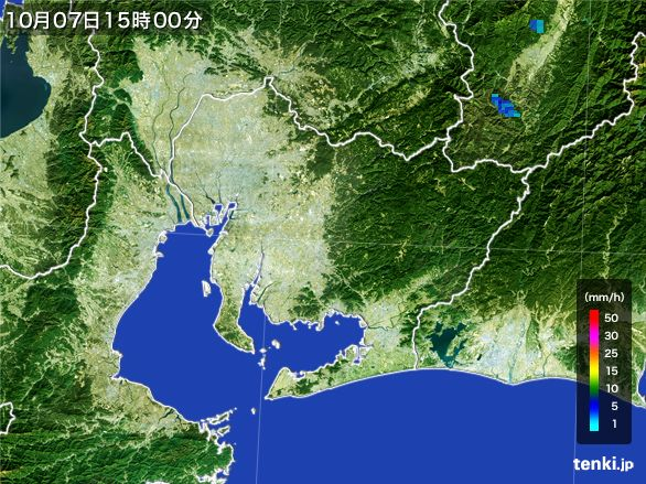 愛知県の雨雲レーダー(2015年10月07日)
