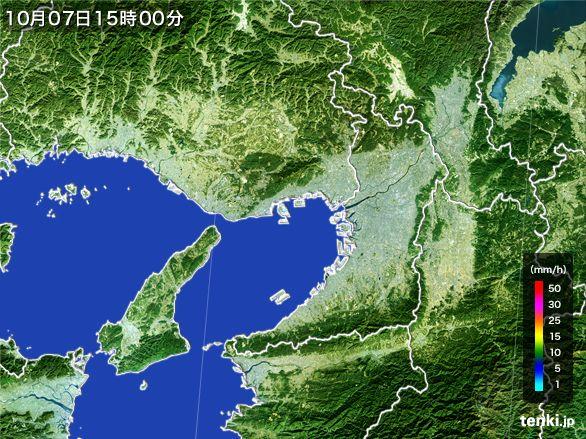 大阪府の雨雲レーダー(2015年10月07日)