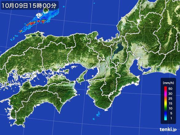 近畿地方の雨雲レーダー(2015年10月09日)