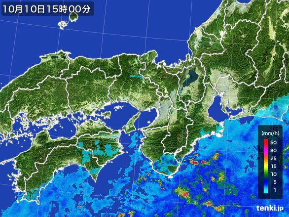 近畿地方の雨雲レーダー(2015年10月10日)