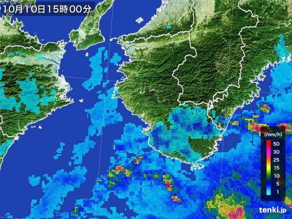 和歌山県の雨雲レーダー(2015年10月10日)