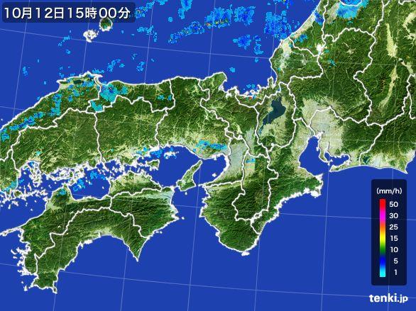 近畿地方の雨雲レーダー(2015年10月12日)