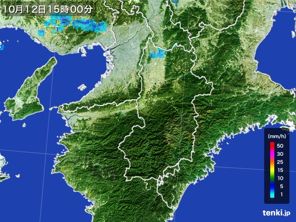 奈良県の雨雲レーダー(2015年10月12日)