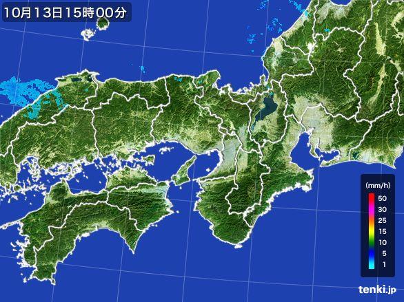 近畿地方の雨雲レーダー(2015年10月13日)