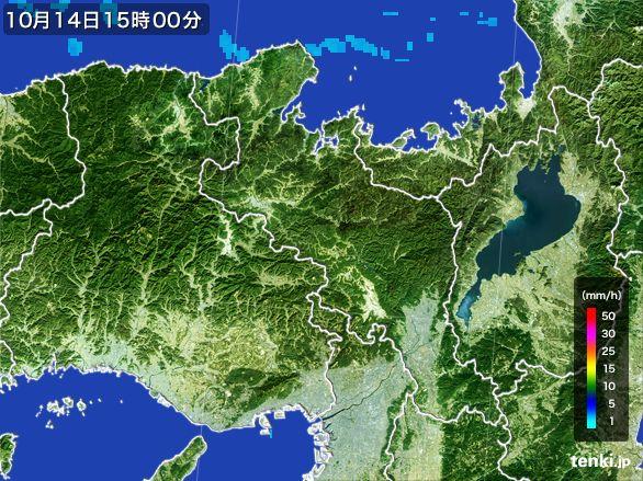 京都府の雨雲レーダー(2015年10月14日)
