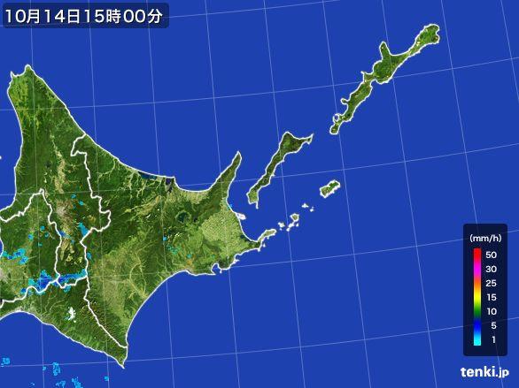 道東の雨雲の動き(2015年10月14日)