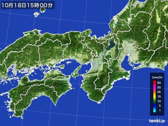 近畿地方の雨雲レーダー(2015年10月18日)