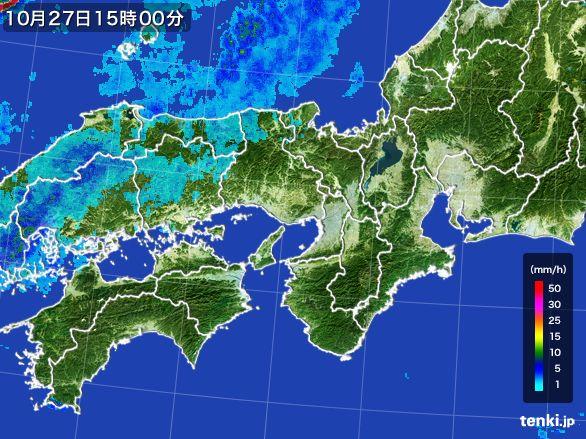 近畿地方の雨雲レーダー(2015年10月27日)