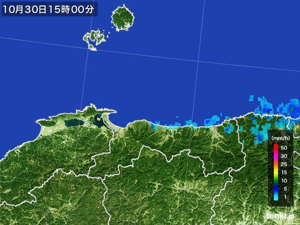 鳥取県の雨雲レーダー(2015年10月30日)