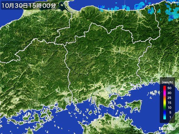 岡山県の雨雲レーダー(2015年10月30日)
