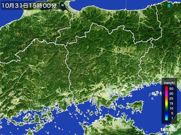 岡山県の雨雲レーダー(2015年10月31日)