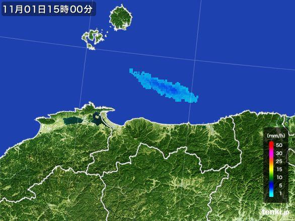 鳥取県の雨雲レーダー(2015年11月01日)