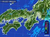 2015年11月02日の近畿地方の雨雲レーダー