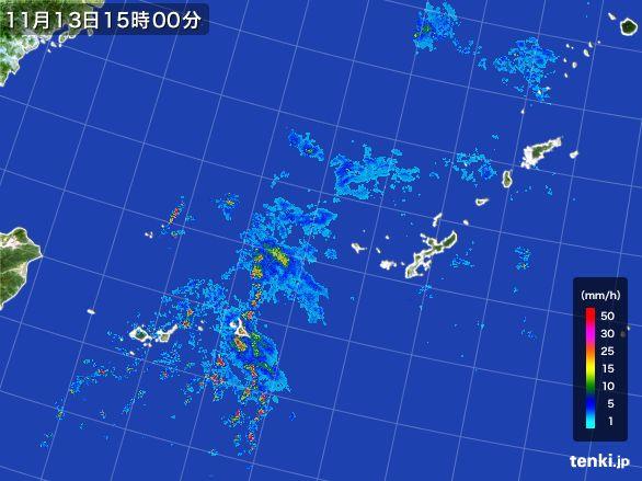 沖縄地方の雨雲レーダー(2015年11月13日)