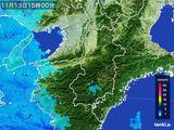 2015年11月13日の奈良県の雨雲レーダー