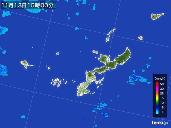 沖縄県の雨雲レーダー(2015年11月13日)