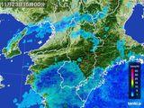 2015年11月23日の奈良県の雨雲レーダー