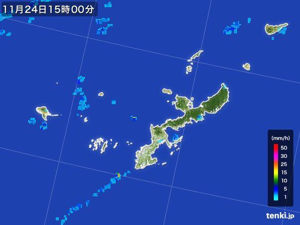 沖縄県の雨雲レーダー(2015年11月24日)