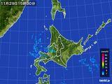 2015年11月29日の北海道地方の雨雲の動き