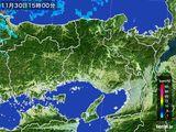 2015年11月30日の兵庫県の雨雲レーダー