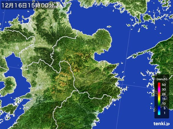 大分県の雨雲レーダー(2015年12月16日)