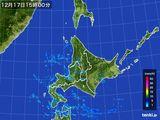2015年12月17日の北海道地方の雨雲の動き