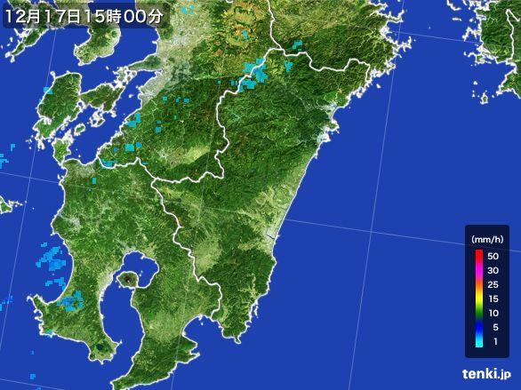 宮崎県の雨雲レーダー(2015年12月17日)