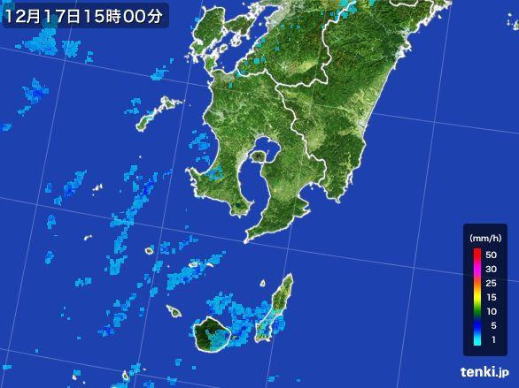 鹿児島県の雨雲レーダー(2015年12月17日)