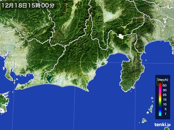静岡県の雨雲レーダー(2015年12月18日)