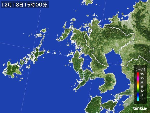 長崎県の雨雲レーダー(2015年12月18日)