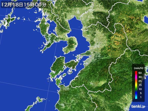 熊本県の雨雲レーダー(2015年12月18日)