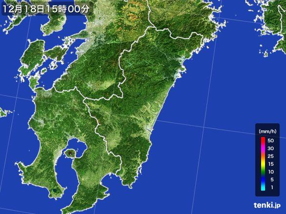 宮崎県の雨雲レーダー(2015年12月18日)