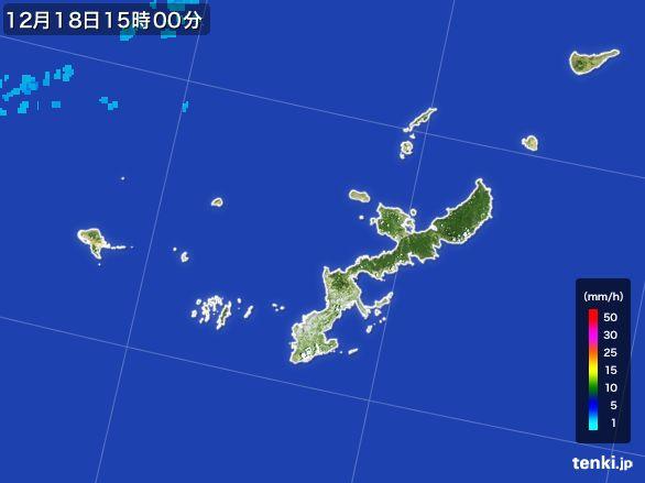 沖縄県の雨雲レーダー(2015年12月18日)