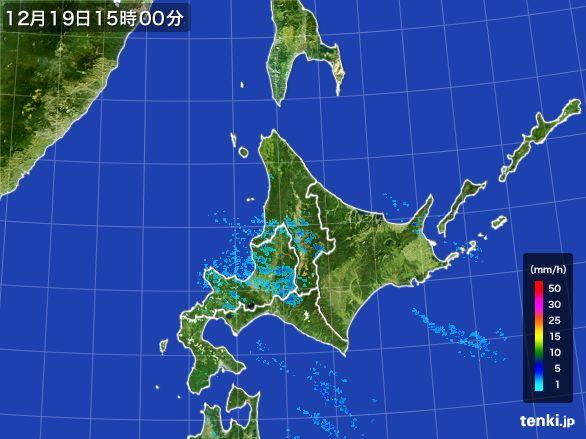 北海道地方の雨雲の動き(2015年12月19日)