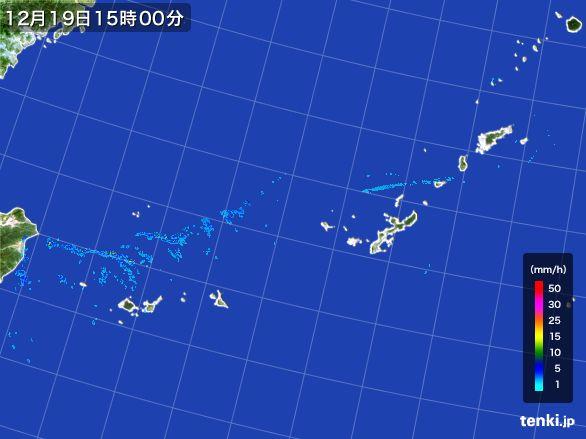 沖縄地方の雨雲レーダー(2015年12月19日)