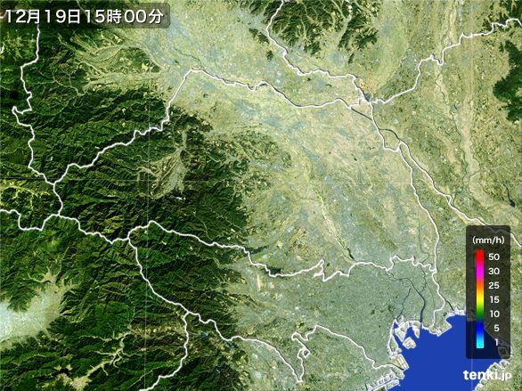 埼玉県の雨雲レーダー(2015年12月19日)