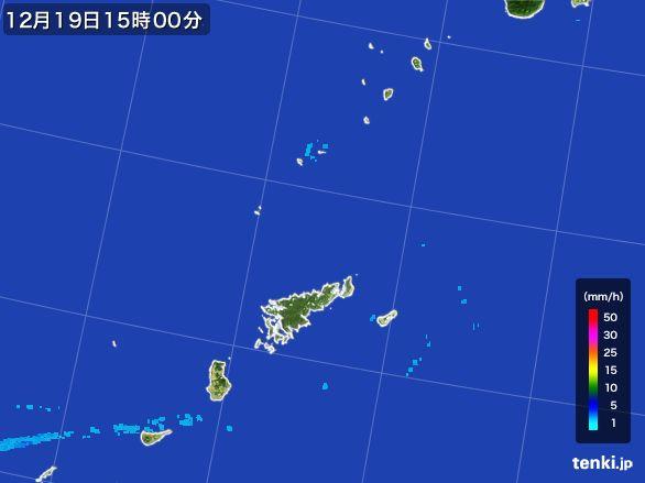 奄美諸島(鹿児島県)の雨雲レーダー(2015年12月19日)
