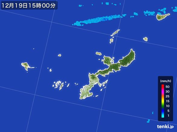 沖縄県の雨雲レーダー(2015年12月19日)