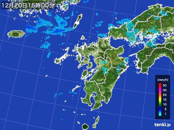 九州地方の雨雲レーダー(2015年12月20日)
