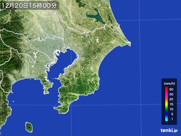 千葉県の雨雲レーダー(2015年12月20日)