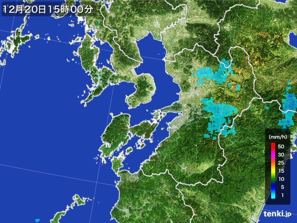 熊本県の雨雲レーダー(2015年12月20日)
