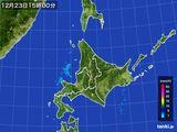 2015年12月23日の北海道地方の雨雲の動き
