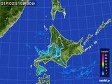 2016年01月02日の北海道地方の雨雲の動き